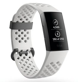 Fitbit /// Fitbit Charge 3 SE, Graphite Aluminum Case with White Band FB410GMWTCALA