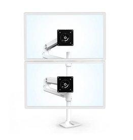 Ergotron Ergotron LX Dual Stacking Arm, Tall Pole, Bright White, Gray Accents 45-509-216