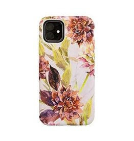 Uunique London | iPhone 11  Pink (Wild Flower) Nutrisiti Eco Printed Marble Back Case 15-05114
