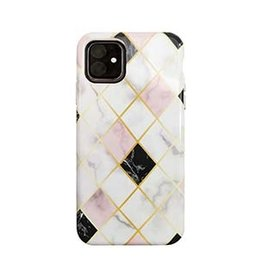 Uunique London Uunique London | White/Rose Gold (Diamond Marble) Nutrisiti Eco Printed Marble Back Case 15-05039