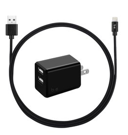 Blu Element Blu Element | Wall Charger Dual USB 3.4A w/ Lightning Cable Black 101-1386