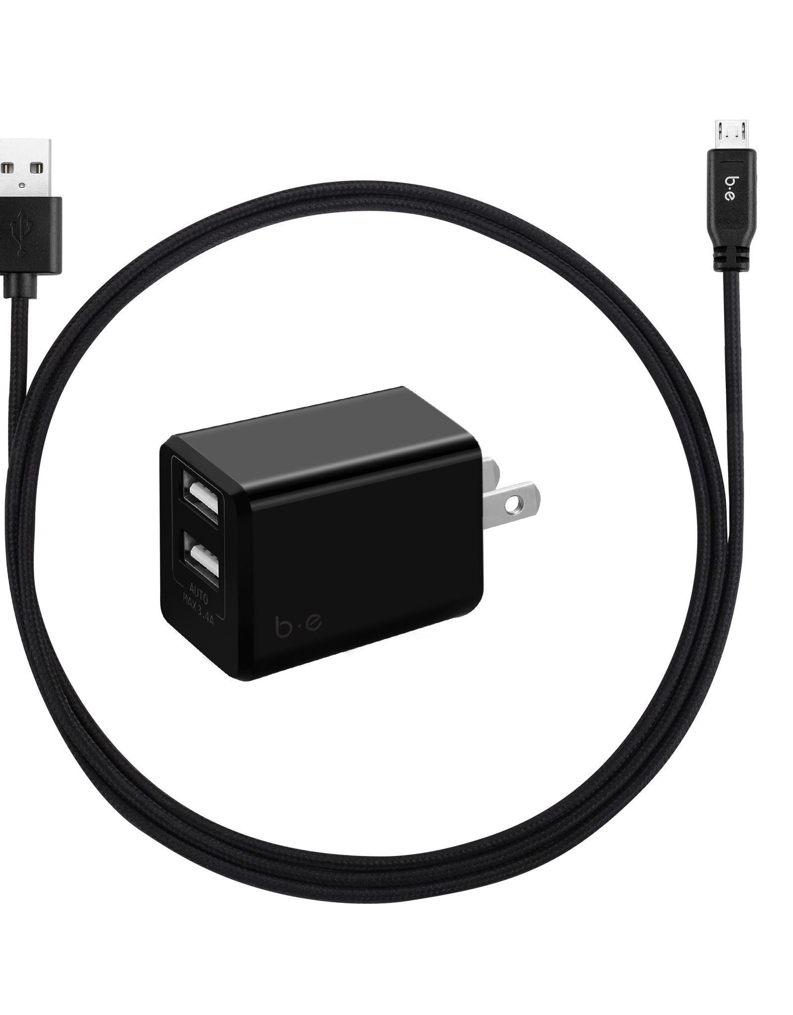 Blu Element Blu Element | Wall Charger Dual USB 3.4A w/ Micro USB Cable Black 101-1385