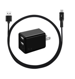 Blu Element Blu Element | Wall Charger Dual USB 3.4A w/USB-C Cable Black 101-1387