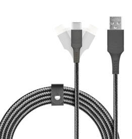 Logiix LOGiiX Piston Connect Armour 1.5m USB-A to USB-C - Grey LGX-12708