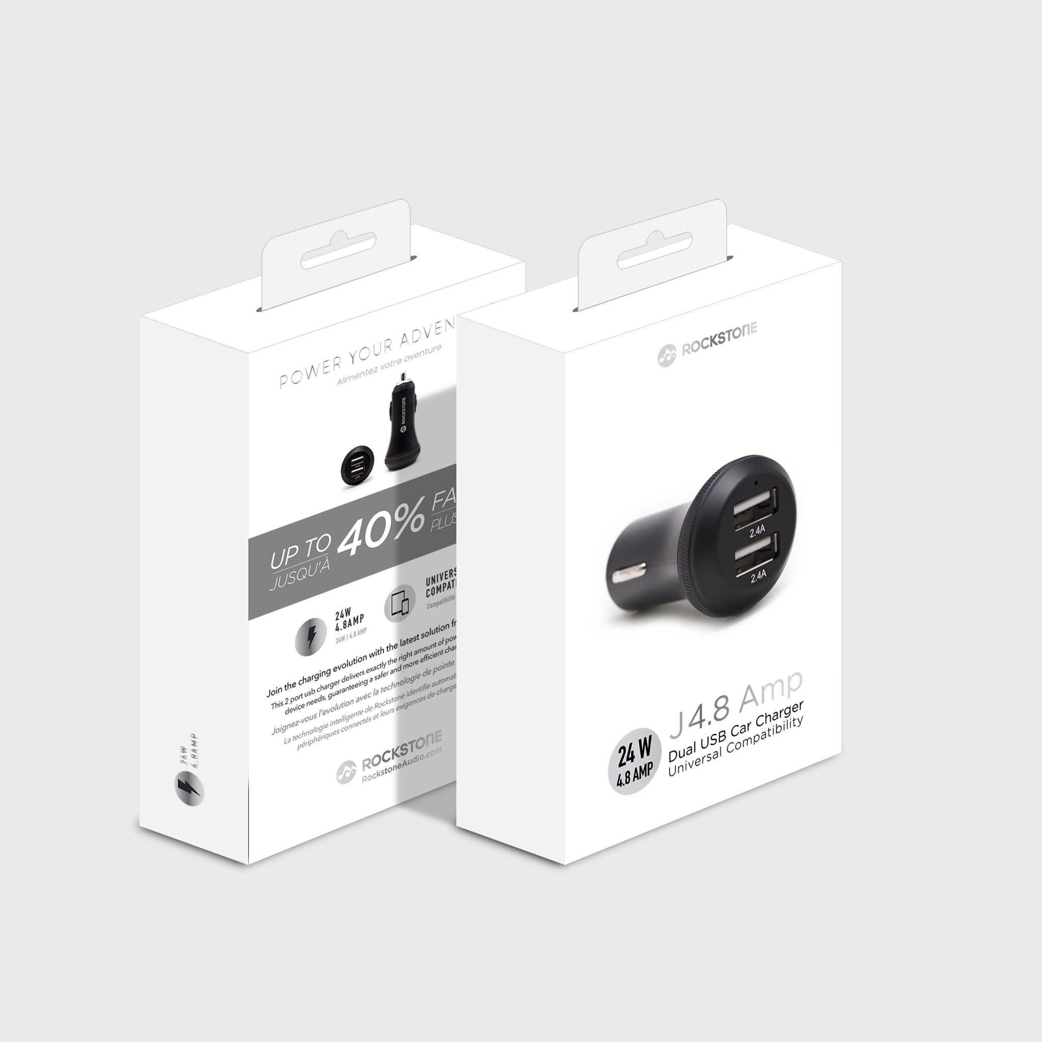 Rockstone Rockstone | J4.8 - 2 Port USB Car Charger - 4.8 AMP RS-J4.8-BK