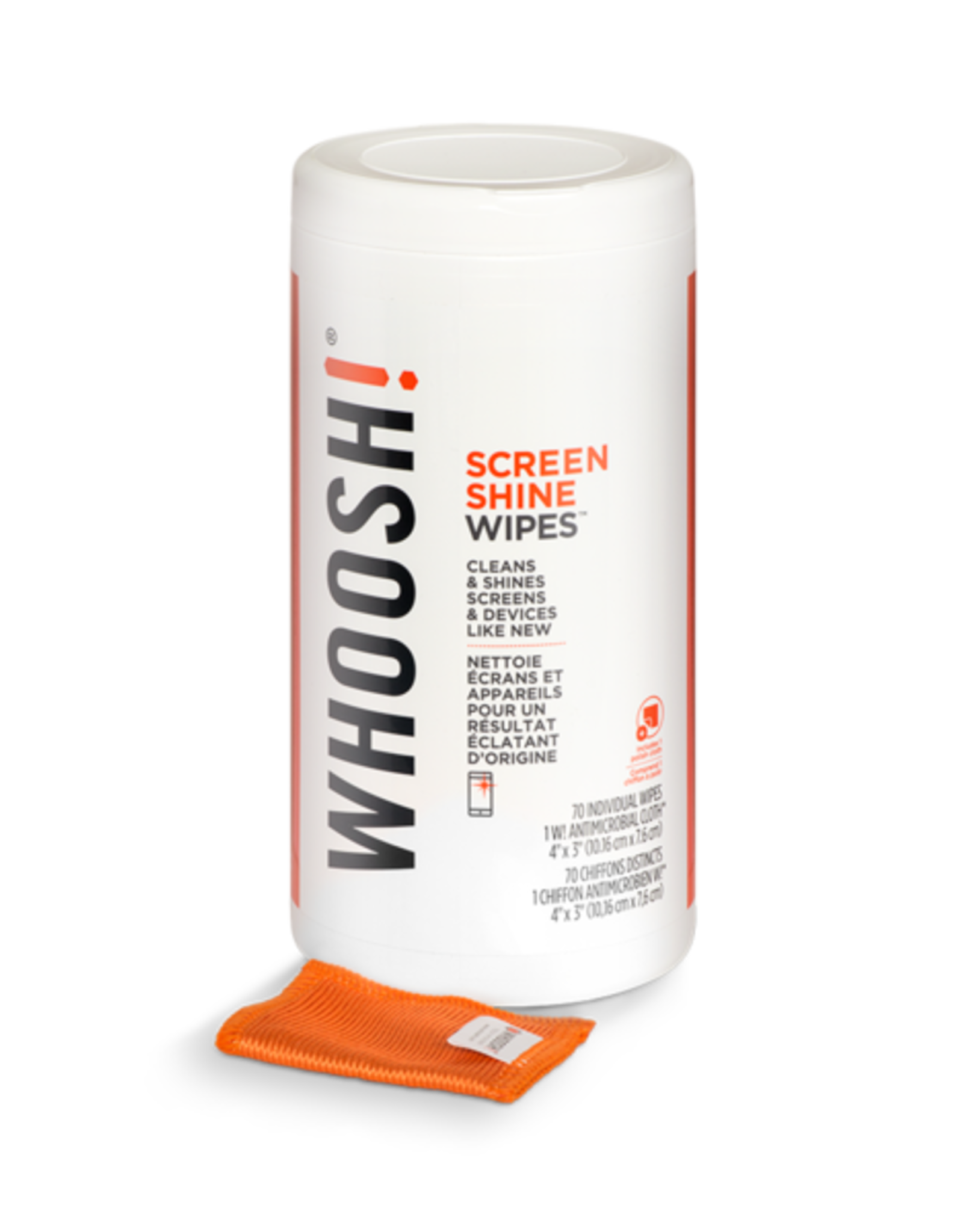 Whoosh Whoosh! Screen Shine Wipes 70 Wipes Canister + Cloth 47980