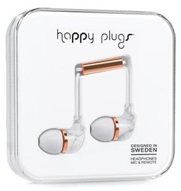 Happy Plugs Happy Plugs In-Ear Earbuds with Mic - Pattern BP White Marble Rose 7782