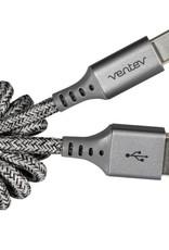Ventev - Helix USB-C Cable 14 inch Grey 107-1480