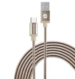 Rockstone Rockstone | Pet Proof Metal Braided Type C Cable - 1.2 Meter Rose Gold R4106-05