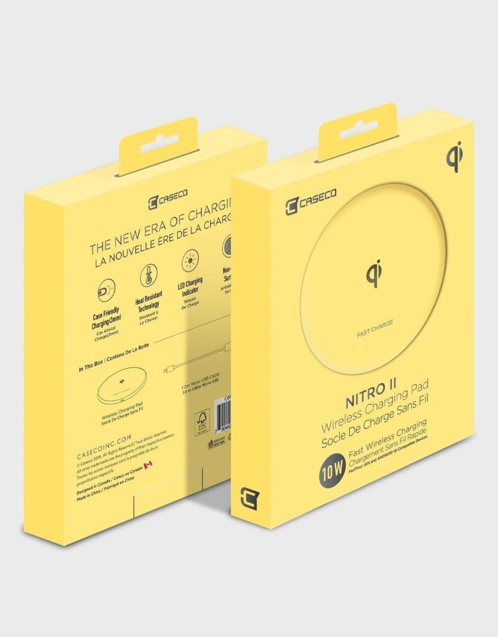 Caseco Caseco Nitro II 10W Fast Wireless Charger For Android & IOS Lemon C0710-20
