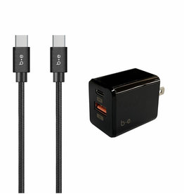 Blu Element Blu Element | Wall Charger USB-C and USB-A 3A Power Delivery with USB-C to USB-C Cable 4ft Black 101-1437
