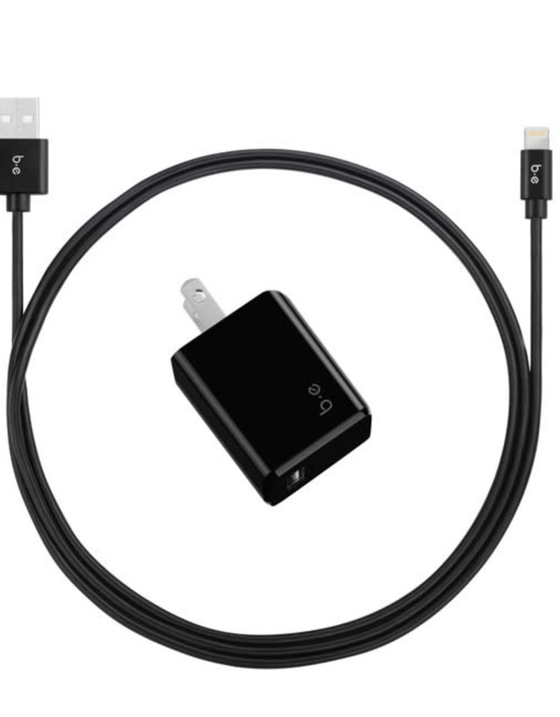 Blu Element Blu Element - Wall Charger Single 2.4A w/Lightning Cable Black 101-1400