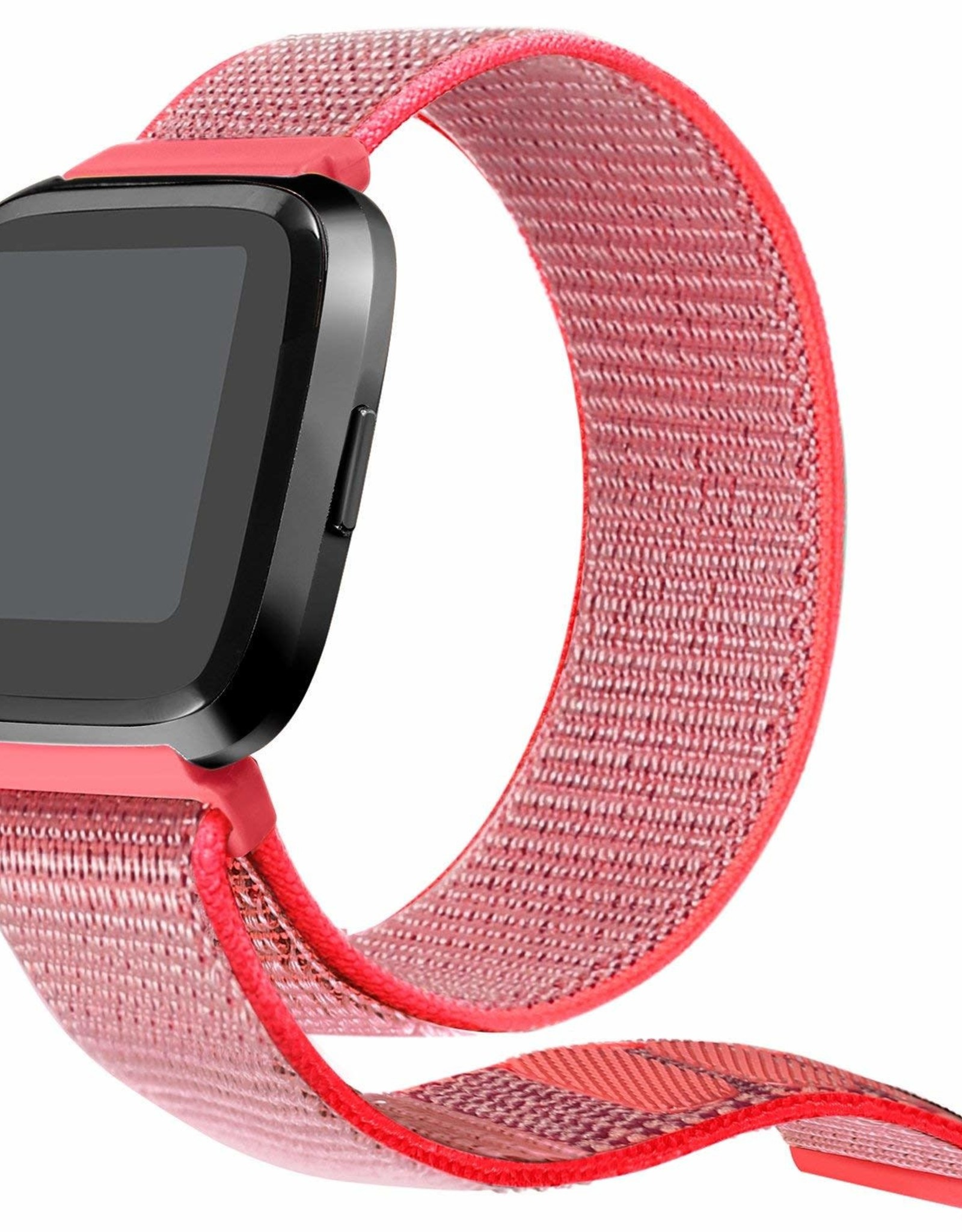 StrapsCo | Nylon Band For Fitbit Versa Neon Pink | FB.NY4.13A