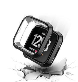 StrapsCo | Silicone Case for Fitbit Versa (Black) | fb.pc9.1