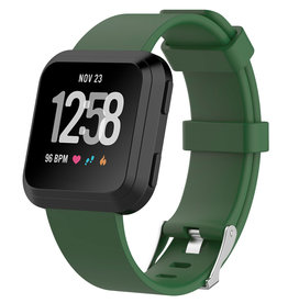 StrapsCo | PERFORATED RUBBER STRAP FOR FITBIT VERSA Black Green Small