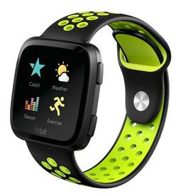 StrapsCo | PERFORATED RUBBER STRAP FOR FITBIT VERSA Black Green Large