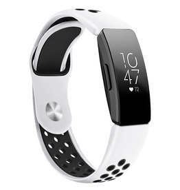 StrapsCo | Perforated Rubber Strap Fitbit Insprire & Insprire HR White/Black fb.r45.22.1