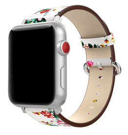 StrapsCo | Leather Strap White/Red Peonies Design iWatch 38/40mm a.l11.22.6.38