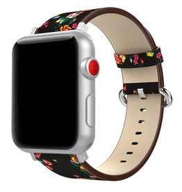 StrapsCo | Leather Strap Black/Red Peonies Design iWatch 38/40mm a.l11.1.6.38