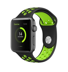StrapsCo | Apple Nike Sport Strap Black w/ Green Rubber Band 42mm Large a.r2.1.11.42l