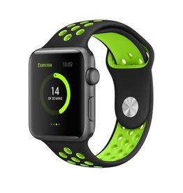 StrapsCo | Apple Nike Sport Strap Black w/ Green Rubber Band 38mm Small a.r2.1.11.38s