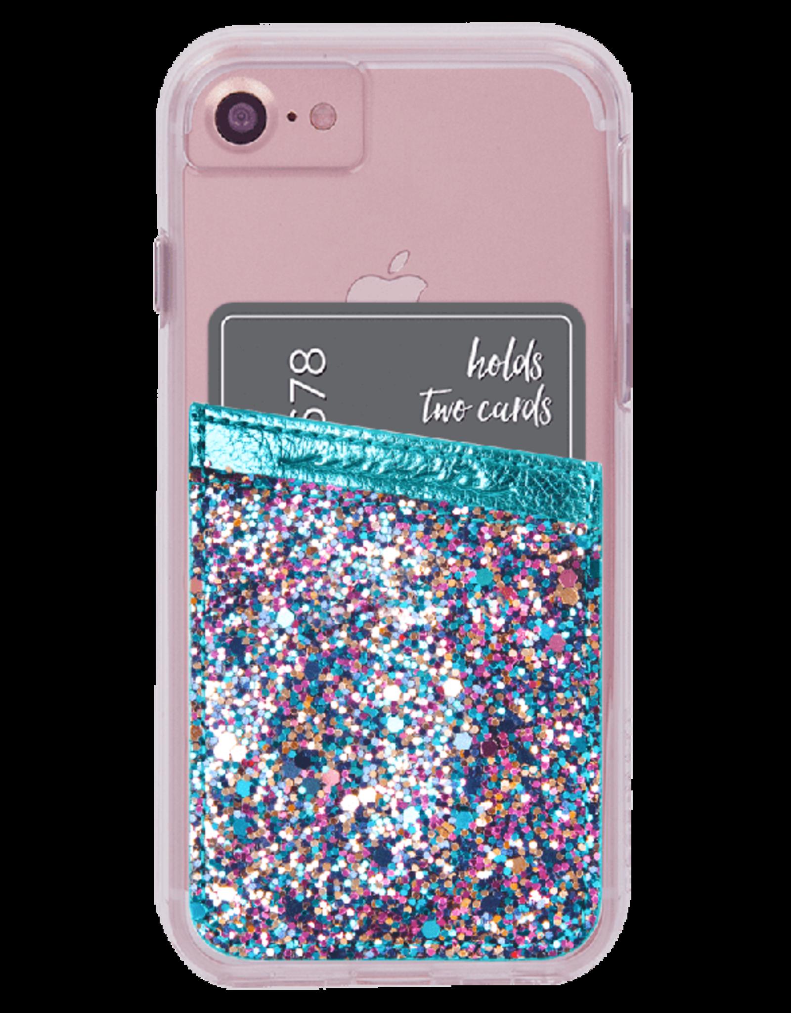 Case-Mate Case-mate | Universal Turquoise Glitter Phone Card-holder Pocket | 846127174893