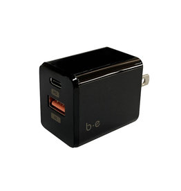 Blu Element Blu Element | Wall Charger USB-C and USB-A 3A Qualcomm 3.0 and 18W Power Delivery Black 101-1435