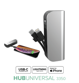myCharge - Hub Mini PowerBank 3350 mAh with Lightning and USB-C Cables Silver 109-1471