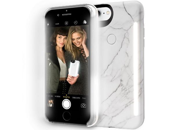 LuMee LuMee   iPhone 8/7/6s/6+ Duo Illuminating Case - White Marble   LM-LD-IP8P-WMR
