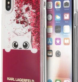 /// Karl Lagerfeld   iPhone X Transparent TPU Peek A Boo Liquid Glitter Fushia   KLHCPXPABGFU