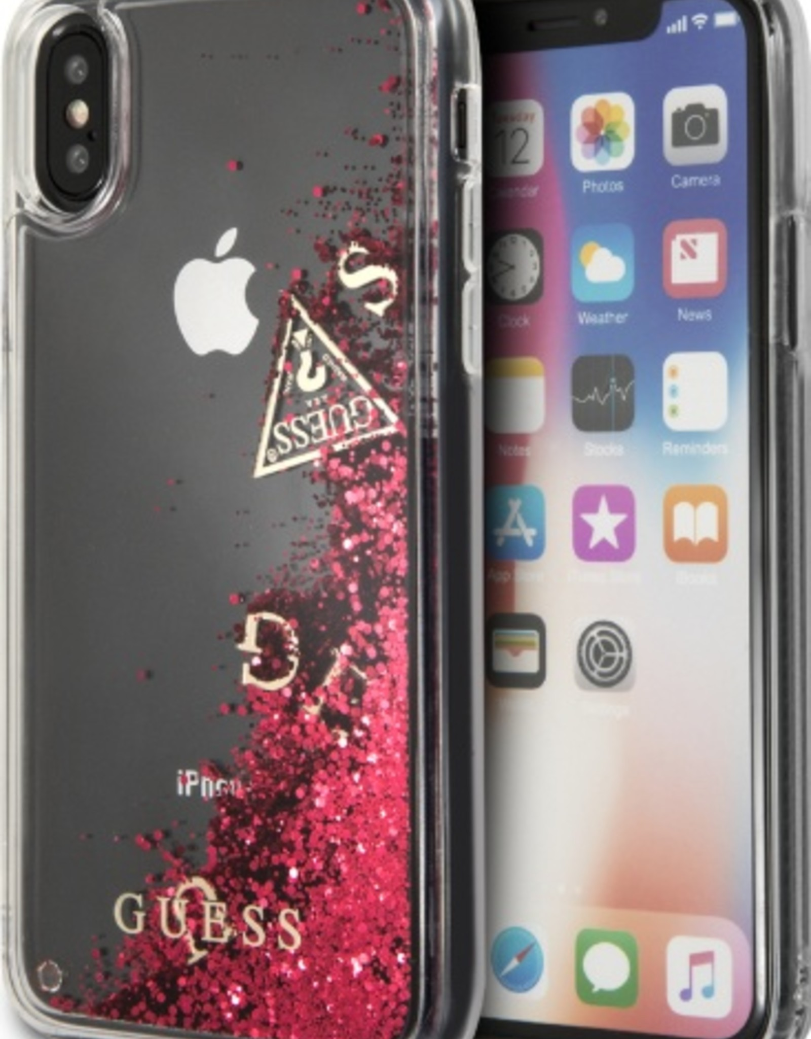 Guess | IPhone X Floating Glitter Red Hard Phone Case (Glitter Collection) | GUHCPXGLUFLRA
