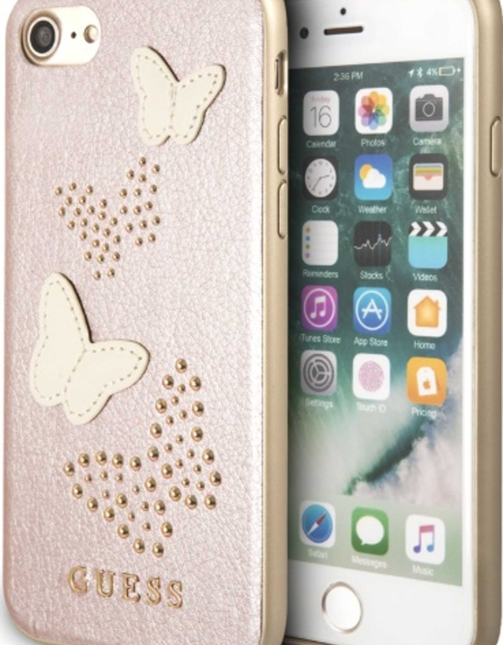 /// Guess   IPhone 8/76/6s+ Pink Glitter Butterfly PU Leather Phone Case (Spring Collection)   GUHCP7BURG