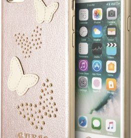 Guess   IPhone 8/76/6s+ Pink Glitter Butterfly PU Leather Phone Case (Spring Collection)   GUHCP7BURG