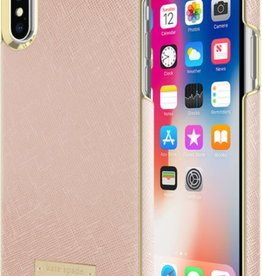 /// Kate Spade New York | Wrap Case iPhone X Saffiano Rose Gold/Gold Logo | KSIPH-081-SRG-FR