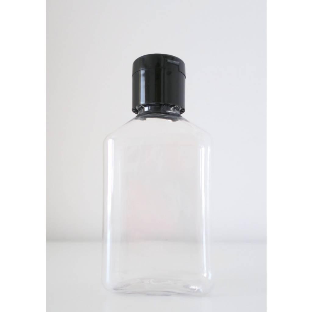20 bouteilles carrés en plastique avec bouchon noir 100 ml