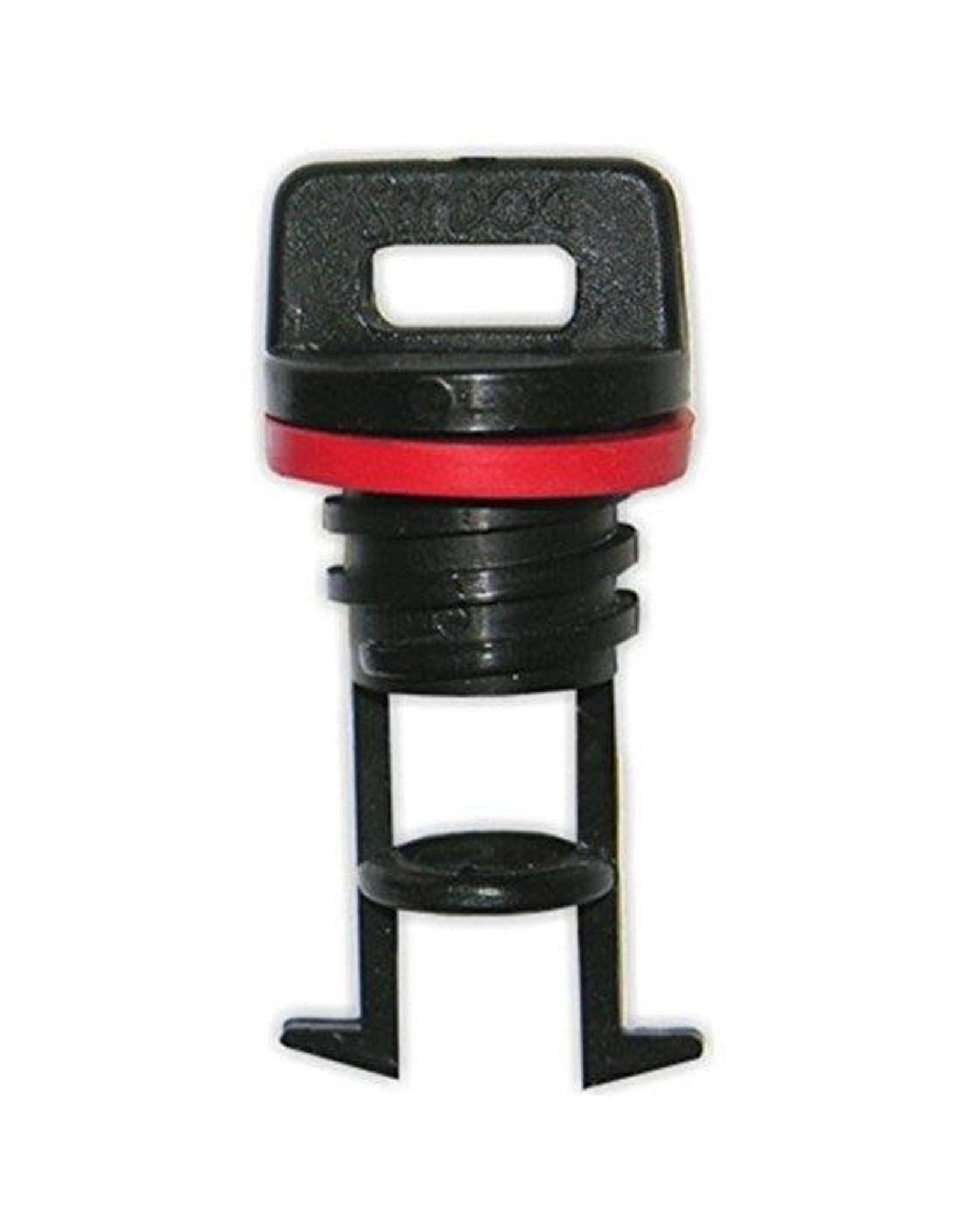 Drain Plug- Course with Port, Plastic, Blk