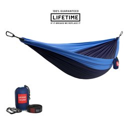 Grand Trunk GrandTrunk Double Hammock with Straps Navy/Lt.Blue