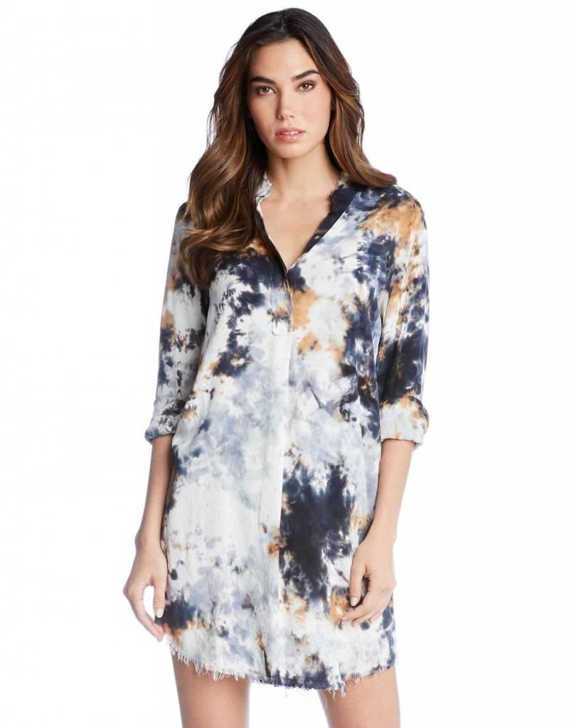 4c8137226f7 Frayed Edge Denim Mini Dress - Short Sleeve / Denim Blue