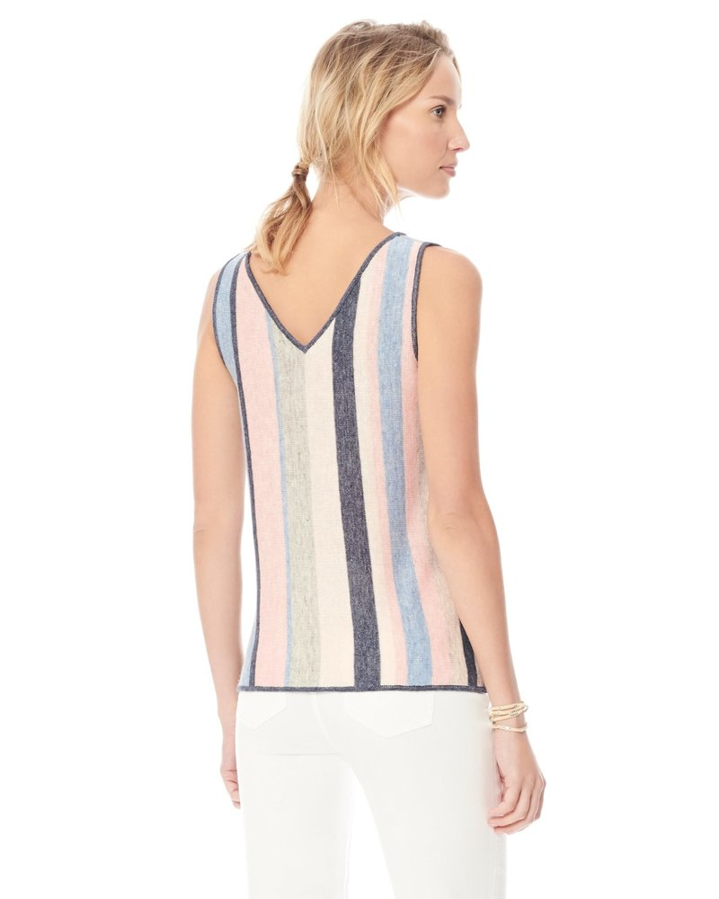 Ecru ECRU STRIPED LINEN V NECK