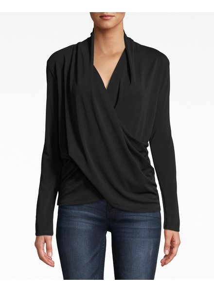 Nicole Miller NM STRETCHY L/S DRAPEY TOP