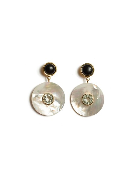 Lizzie Fortunato Jewels LFJ TAJ DISC EARRINGS IN PEARL