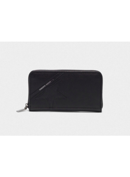GOLDEN GOOSE STAR L ZIP WALLET BLACK