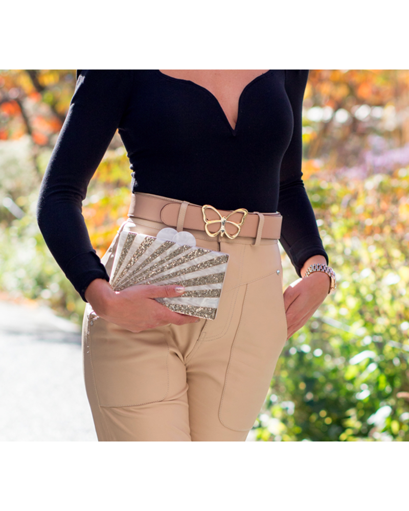ELIZABETH SUTTON ES CLUTCH GOLD/ WHITE STARBURST