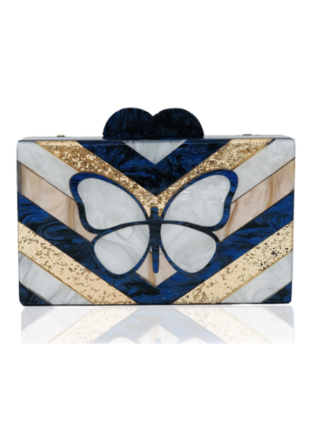 ELIZABETH SUTTON ES CLUTCH ROYAL BUTTERFLY NAVY