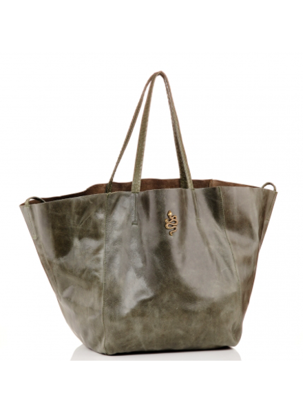 CLARIS VIROT CV FELIX TOTE KHAKI LEATHER