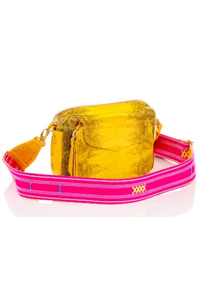 CLARIS VIROT CLARIS VIROT CHARLY BAG YELLOW LIZARD