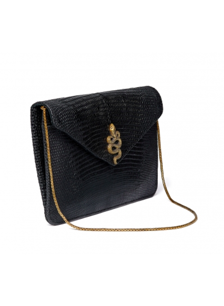 CLARIS VIROT CV BIG ALEX CARD HOLDER BLACK LIZARD