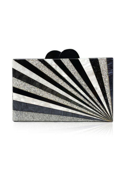 ELIZABETH SUTTON ES CLUTCH BLACK/ WHITE STARBURST