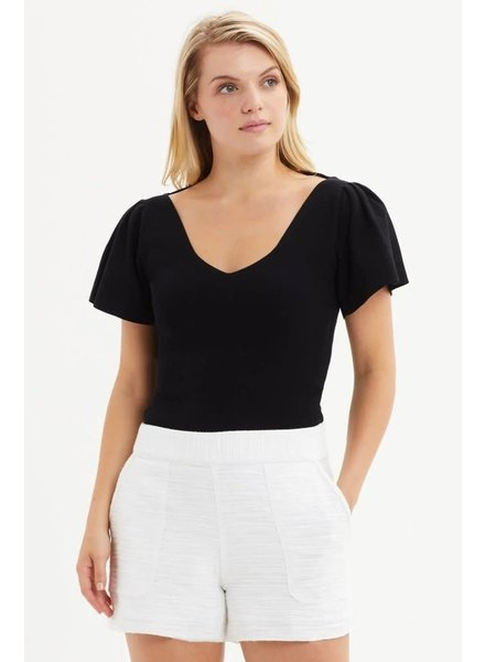MARIE OLIVER MO PLEATED SLEEVE KNIT BLOUSE