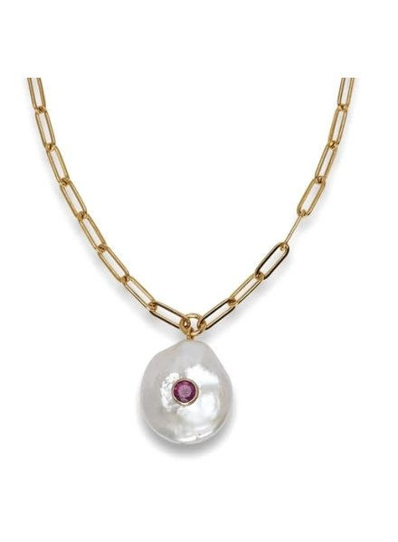 Lizzie Fortunato Jewels LFJ RED EYE PEARL NECKLACE